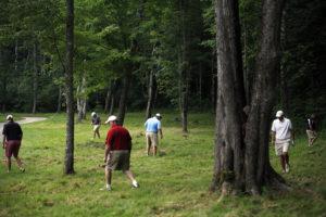 Golfeurs cherchant une balle